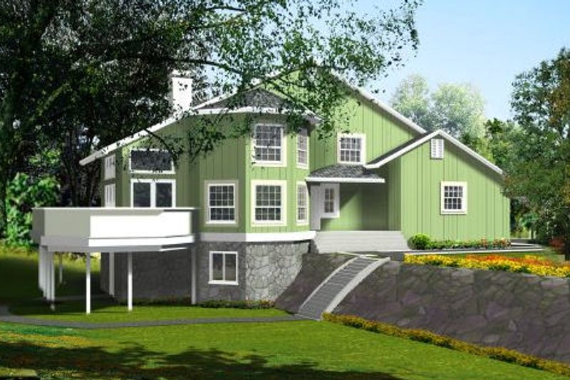 Traditional Style House Plan - 2 Beds 2.5 Baths 1991 Sq/Ft Plan #1-435 Exterior - Front Elevation