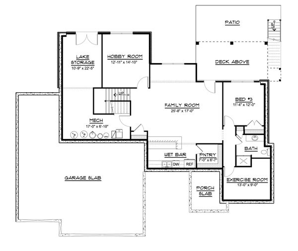 Ranch Floor Plan - Lower Floor Plan #1064-87