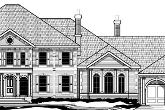 Southern Exterior - Front Elevation Plan #67-126
