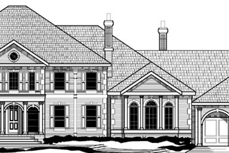 Southern Style House Plan - 5 Beds 6.5 Baths 7138 Sq/Ft Plan #67-126 Exterior - Front Elevation