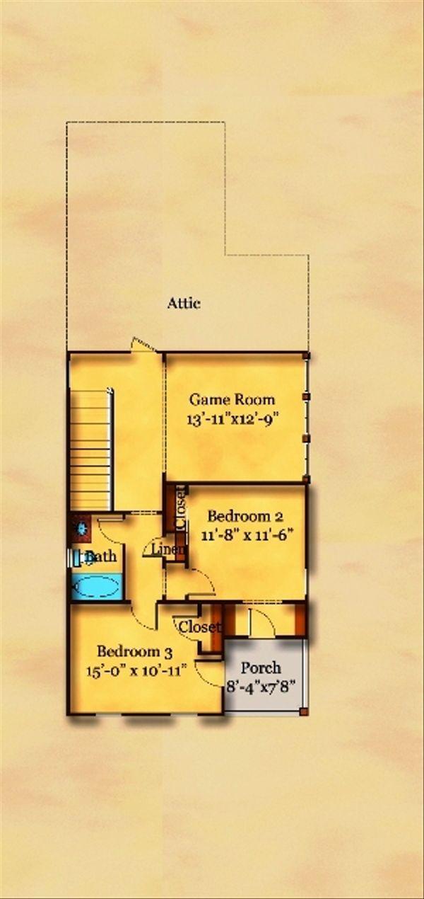 Beach Floor Plan - Upper Floor Plan Plan #442-2