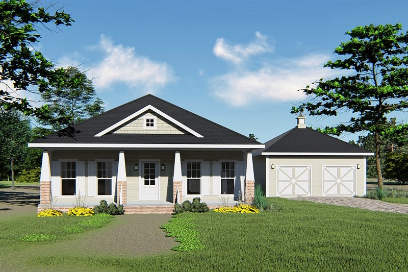 Craftsman Style House Plan - 3 Beds 2 Baths 1587 Sq/Ft Plan #44-234 Exterior - Front Elevation