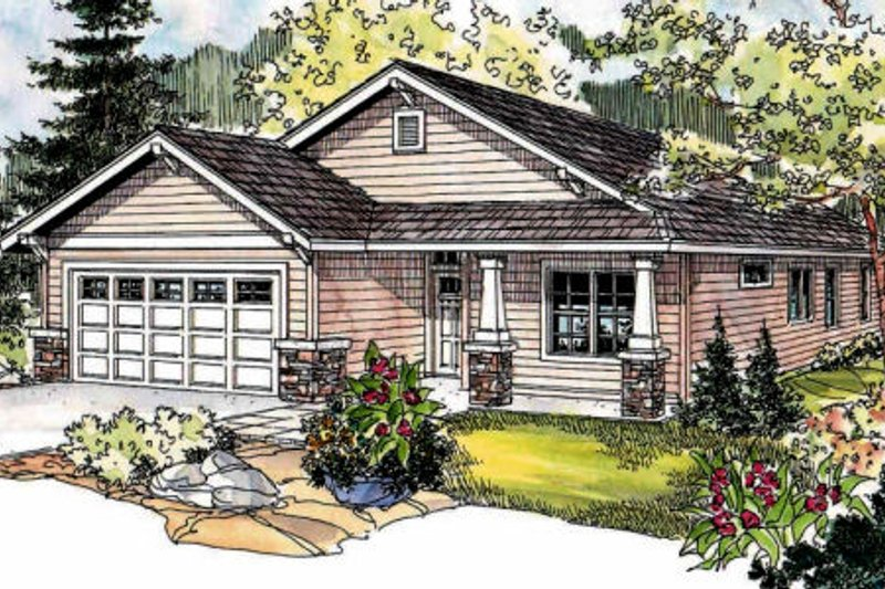 Craftsman Style House Plan - 3 Beds 2 Baths 1430 Sq/Ft Plan #124-690 Exterior - Front Elevation