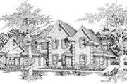 European Style House Plan - 5 Beds 3.5 Baths 3507 Sq/Ft Plan #329-300 Exterior - Front Elevation