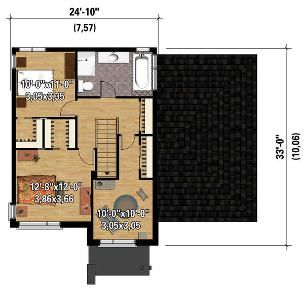 Contemporary Floor Plan - Upper Floor Plan Plan #25-4294