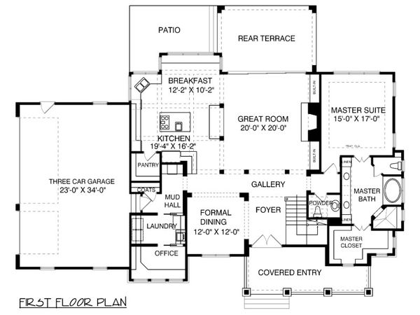 Traditional Floor Plan - Main Floor Plan Plan #413-886