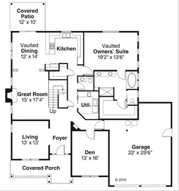Craftsman Floor Plan - Main Floor Plan Plan #124-845