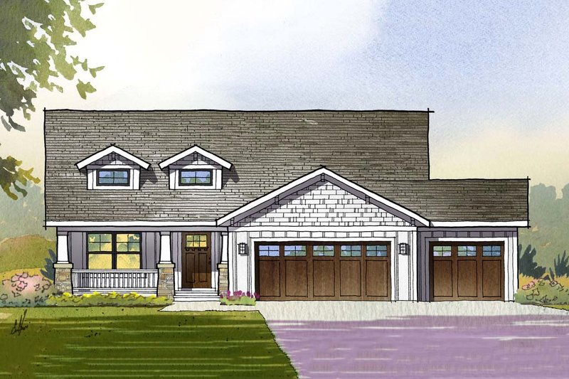 Craftsman Style House Plan - 3 Beds 2.5 Baths 3139 Sq/Ft Plan #901-111 Exterior - Front Elevation
