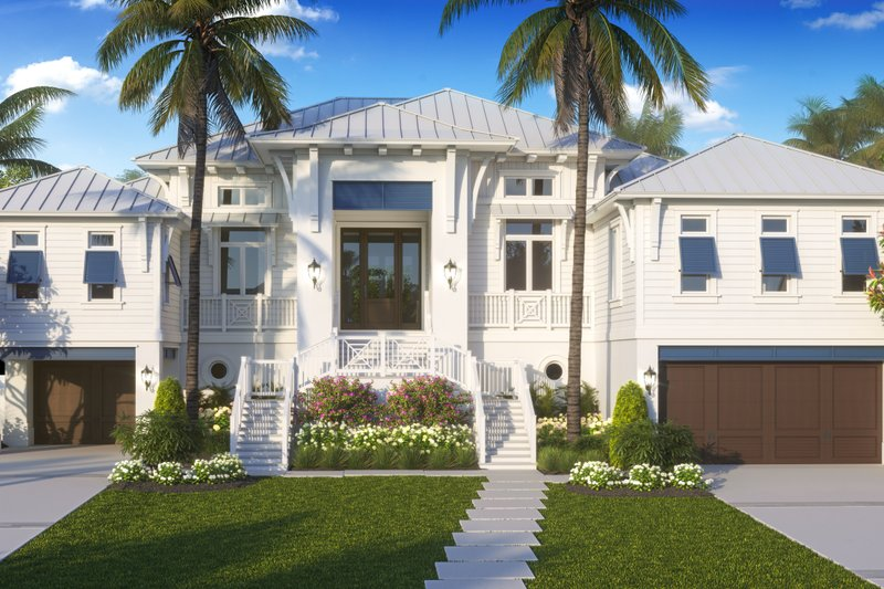 Beach Exterior - Front Elevation Plan #27-571