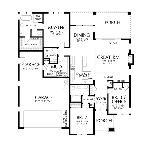 Dream House Plan - Contemporary Floor Plan - Main Floor Plan #48-1036