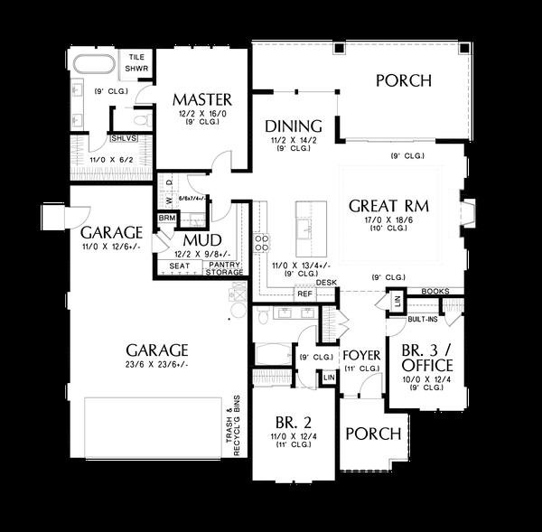 Contemporary Floor Plan - Main Floor Plan #48-1036