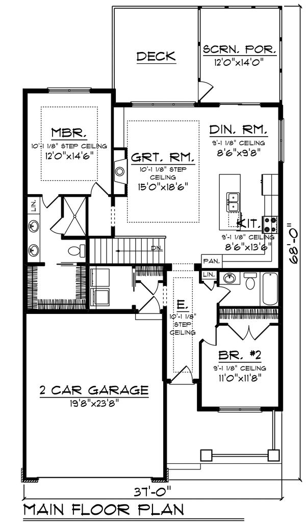 Dream House Plan - Ranch Floor Plan - Main Floor Plan #70-1482