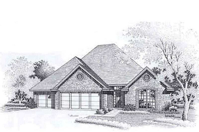 Traditional Style House Plan - 3 Beds 2 Baths 1861 Sq/Ft Plan #310-907 Exterior - Front Elevation