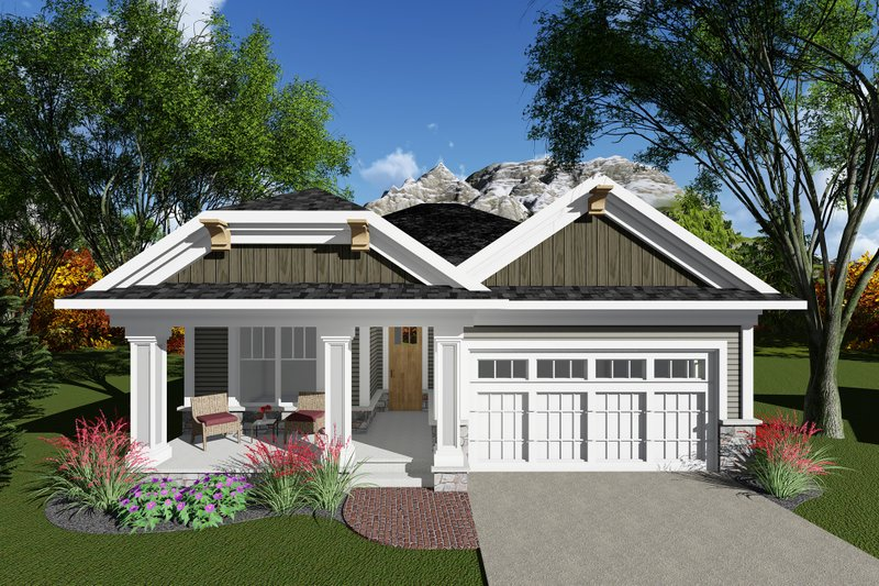 Craftsman Style House Plan - 2 Beds 2 Baths 1334 Sq/Ft Plan #70-1259 Exterior - Front Elevation