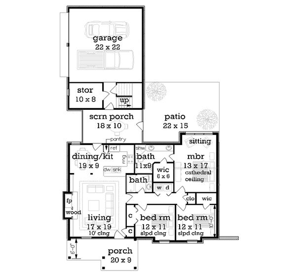 Craftsman Floor Plan - Main Floor Plan Plan #45-374