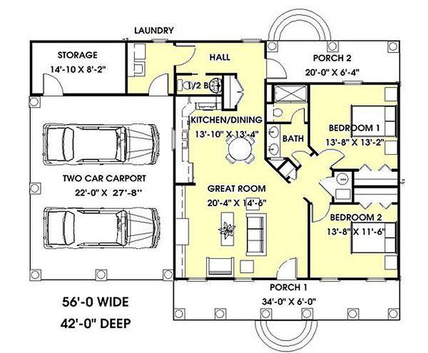 Cottage Floor Plan - Main Floor Plan #44-149