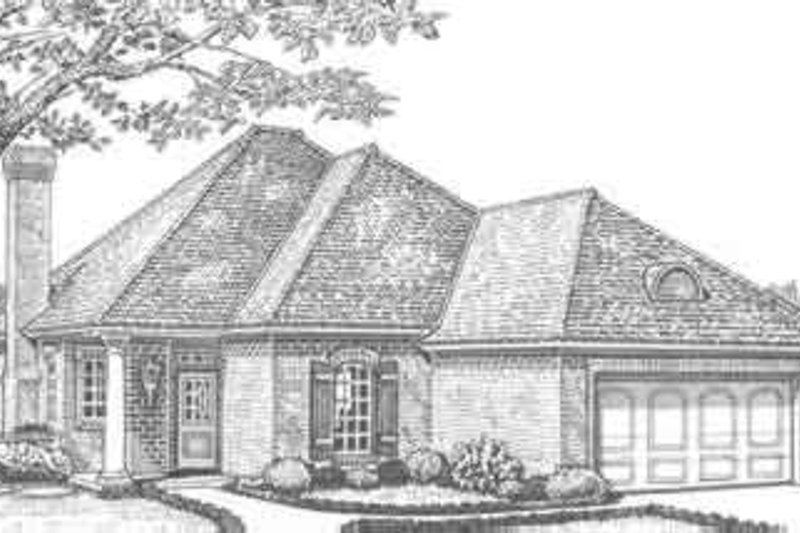 European Style House Plan - 3 Beds 2 Baths 1947 Sq/Ft Plan #310-303 Exterior - Front Elevation