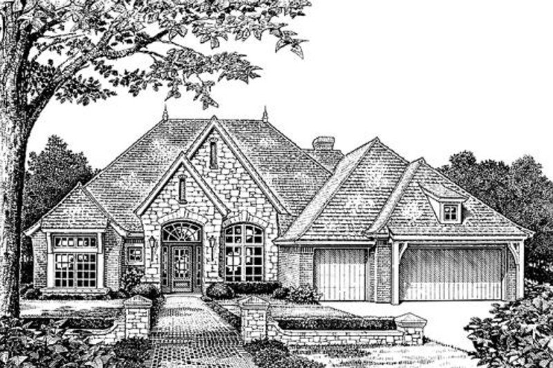 European Style House Plan - 4 Beds 3 Baths 2620 Sq/Ft Plan #310-855 Exterior - Front Elevation