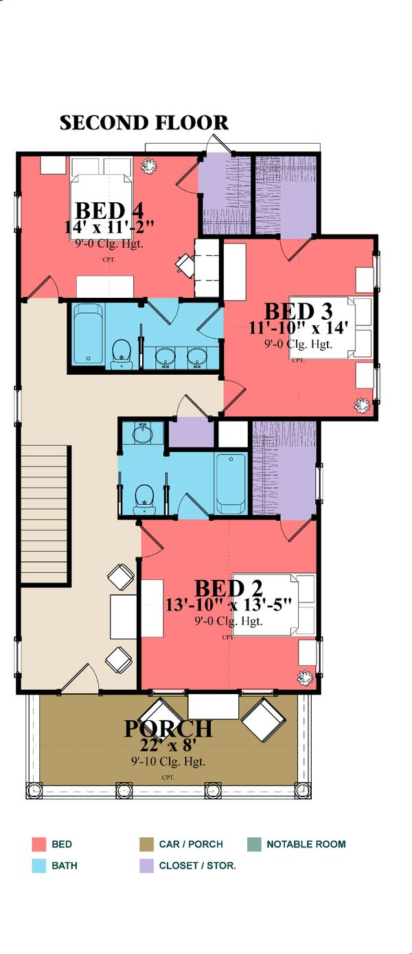Farmhouse Floor Plan - Upper Floor Plan Plan #63-377
