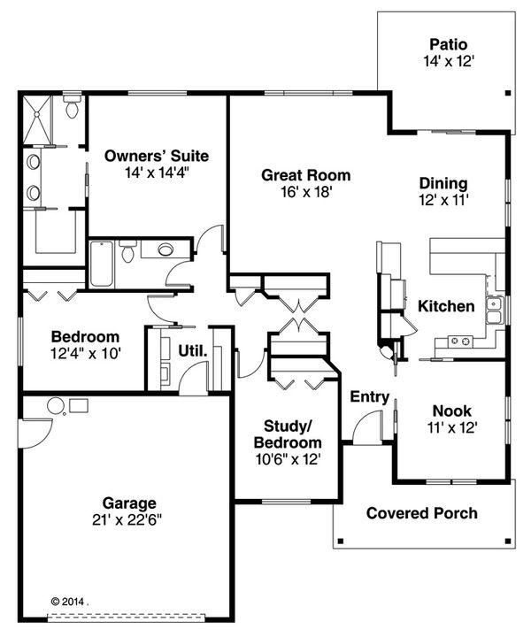 Home Plan - Craftsman style house plan, main level floor plan