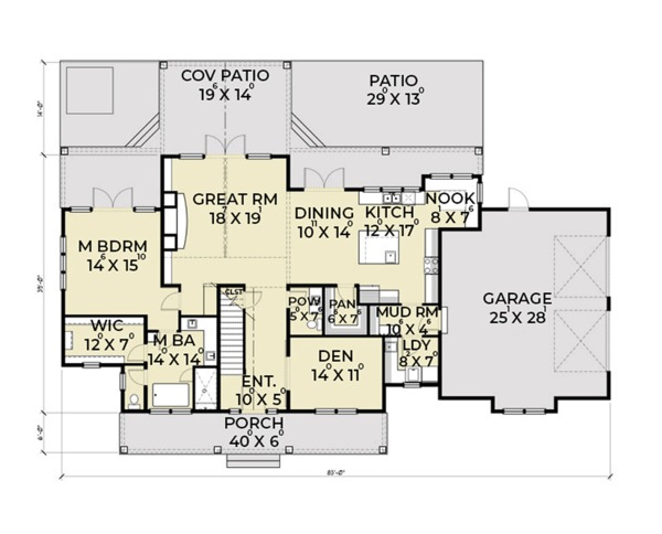 Dream House Plan - Farmhouse Floor Plan - Main Floor Plan #1070-19