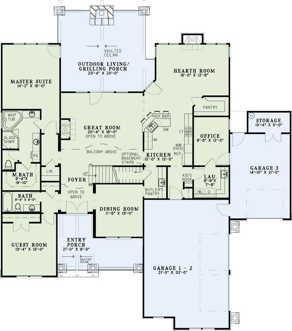 Dream House Plan - Craftsman Floor Plan - Main Floor Plan #17-2516