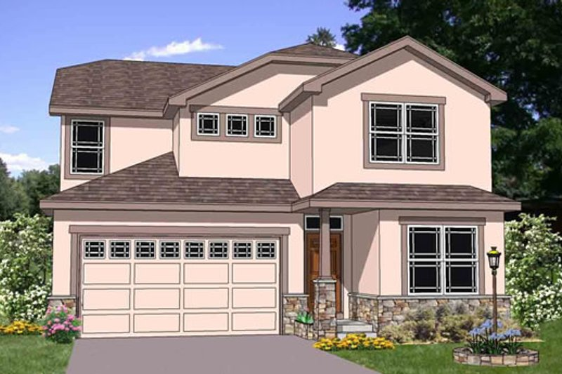 Contemporary Style House Plan - 4 Beds 2.5 Baths 2196 Sq/Ft Plan #116-272 Exterior - Front Elevation