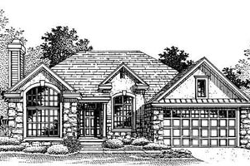 European Style House Plan - 3 Beds 2 Baths 1431 Sq/Ft Plan #50-192 Exterior - Front Elevation