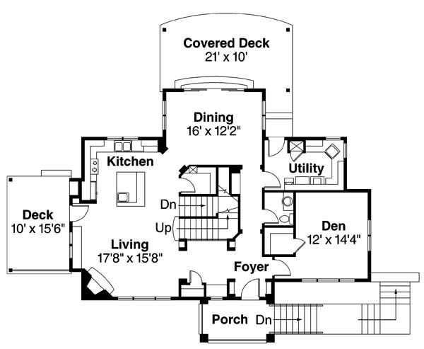 Architectural House Design - Mediterranean Floor Plan - Main Floor Plan #124-863