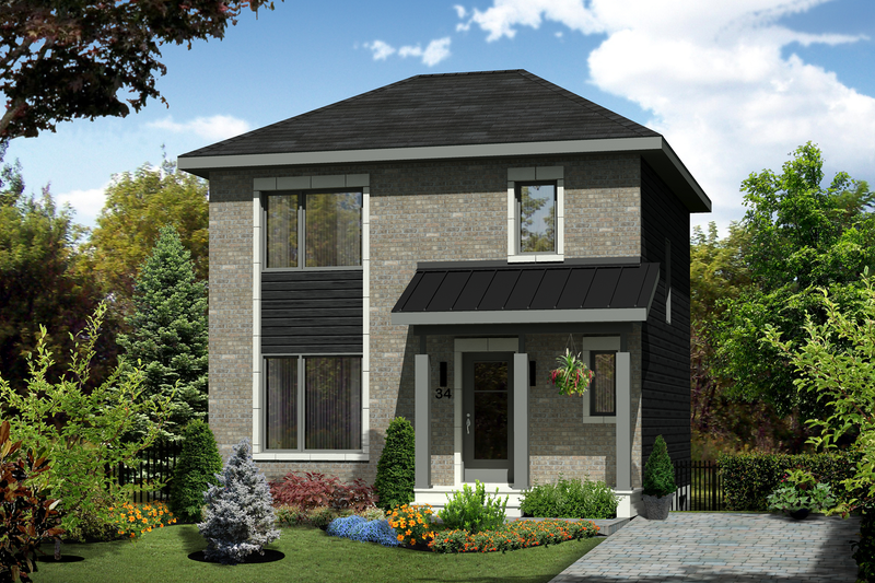 Contemporary Style House Plan - 3 Beds 1 Baths 1152 Sq/Ft Plan #25-4582 Exterior - Front Elevation