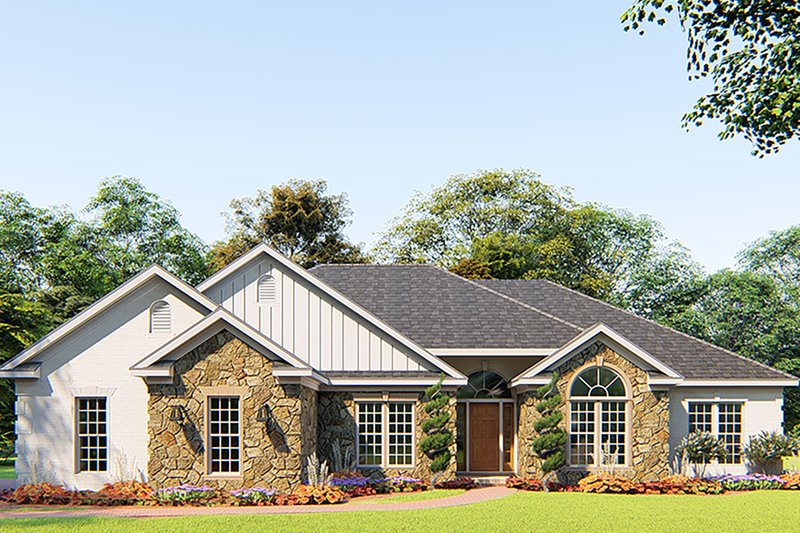 Craftsman Style House Plan - 4 Beds 3 Baths 1989 Sq/Ft Plan #923-156 Exterior - Front Elevation