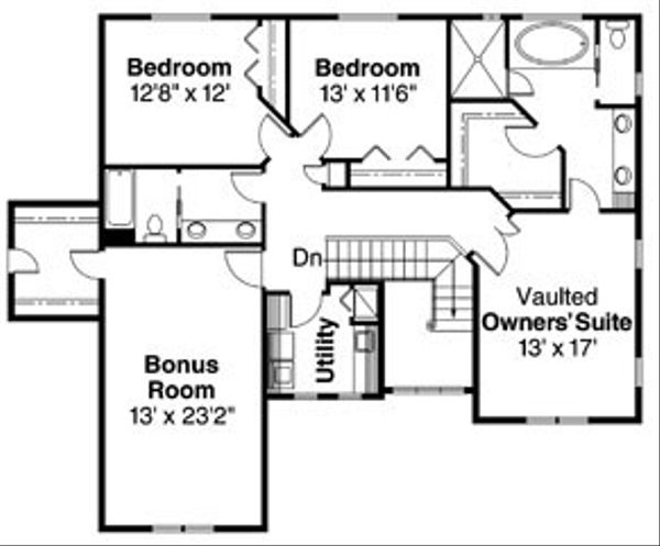 Traditional Floor Plan - Upper Floor Plan Plan #124-743