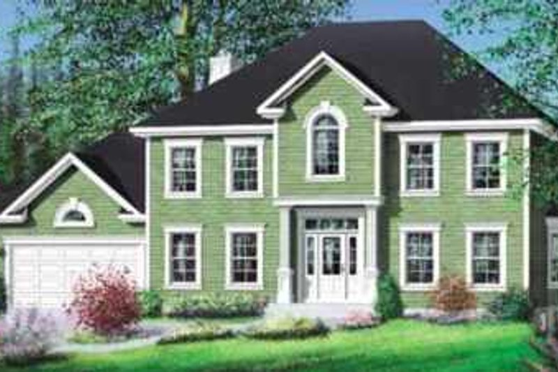Colonial Style House Plan - 4 Beds 2.5 Baths 3019 Sq/Ft Plan #25-275 Exterior - Front Elevation