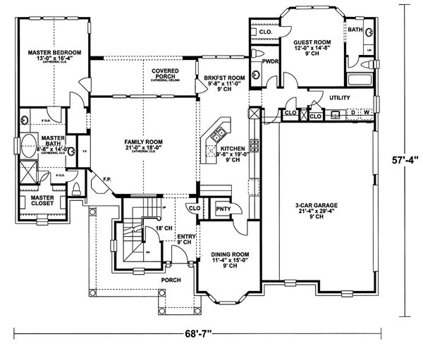 European Floor Plan - Main Floor Plan Plan #20-967