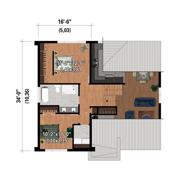 Contemporary Floor Plan - Upper Floor Plan #25-4879