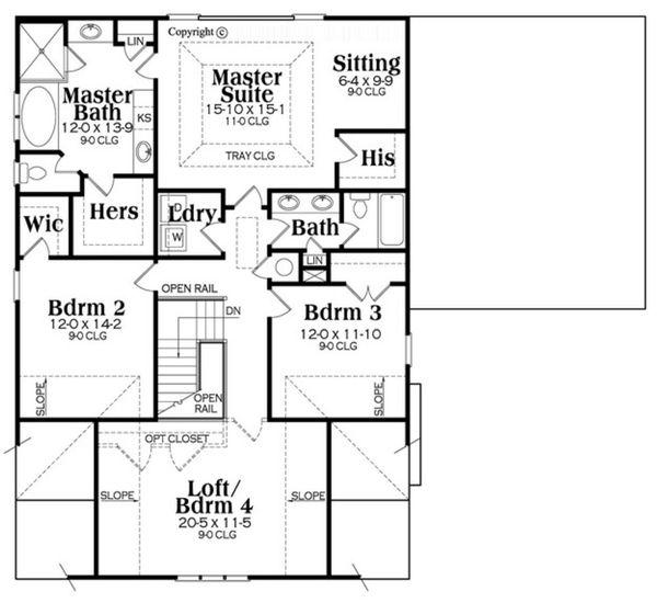 Bungalow Floor Plan - Upper Floor Plan Plan #419-284