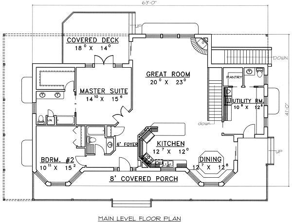 Country Floor Plan - Main Floor Plan Plan #117-522