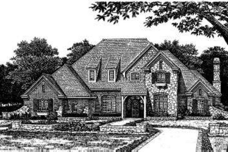European Style House Plan - 5 Beds 3.5 Baths 4167 Sq/Ft Plan #310-167 Exterior - Front Elevation