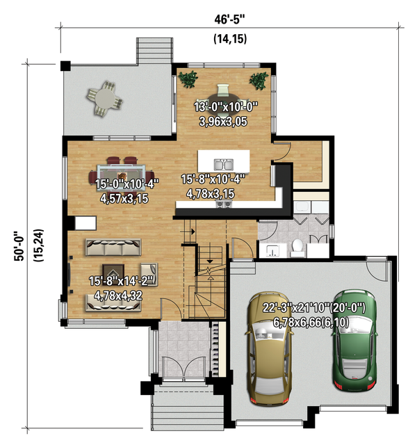Contemporary Floor Plan - Main Floor Plan Plan #25-4341