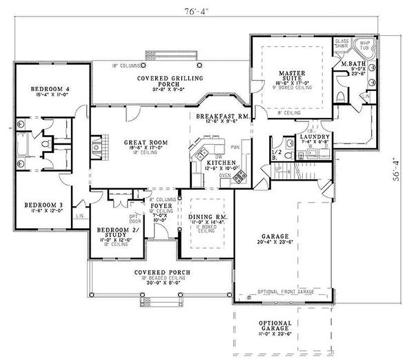Southern, country style house plan, main level floor plan