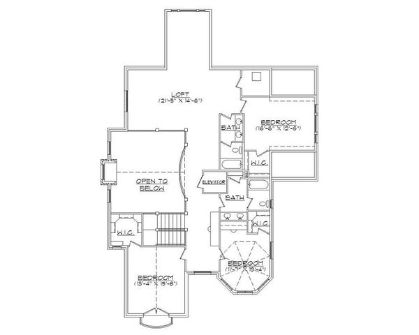 Victorian Floor Plan - Upper Floor Plan Plan #5-420