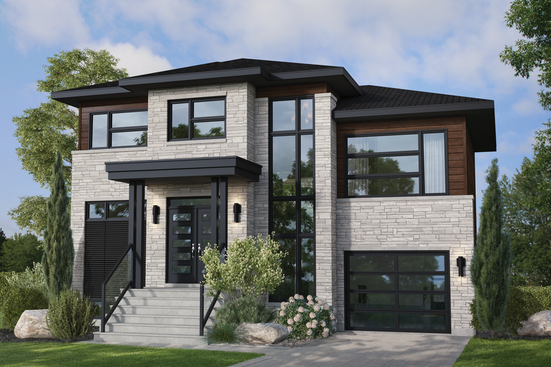 Dream House Plan - Contemporary Exterior - Front Elevation Plan #25-4889