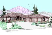 Ranch Style House Plan - 3 Beds 2 Baths 1996 Sq/Ft Plan #60-259 Exterior - Front Elevation