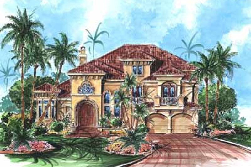 Mediterranean Style House Plan - 4 Beds 6 Baths 3920 Sq/Ft Plan #27-232 Exterior - Front Elevation