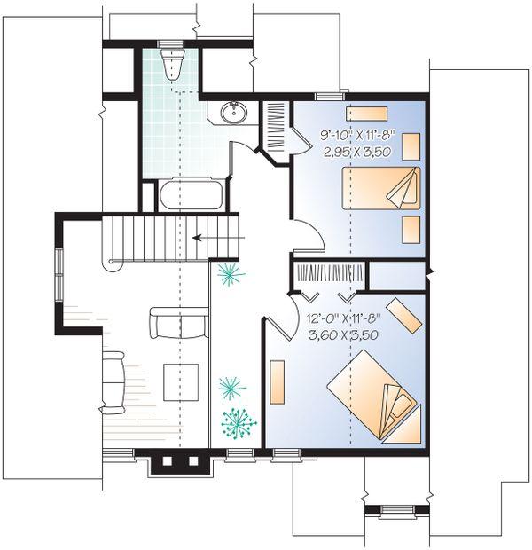 Upper Floor Plan - 1600 square foot Craftsman Cabin