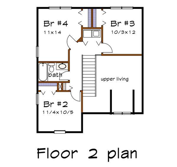Country Floor Plan - Upper Floor Plan Plan #79-284