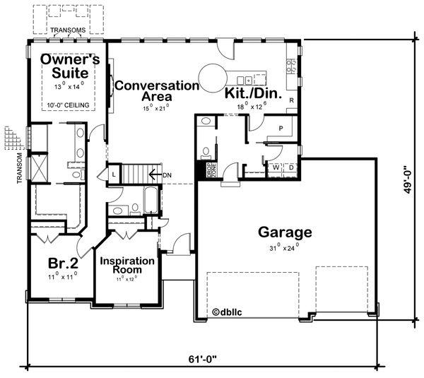 Home Plan - Ranch Floor Plan - Main Floor Plan #20-2297