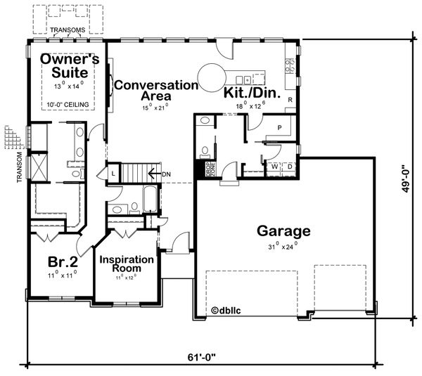 Ranch Floor Plan - Main Floor Plan #20-2297