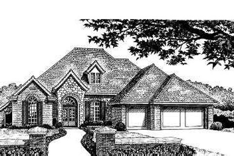 European Style House Plan - 4 Beds 2.5 Baths 2214 Sq/Ft Plan #310-210 Exterior - Front Elevation