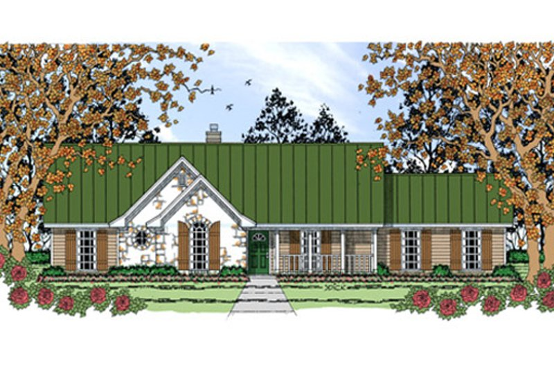 Farmhouse Style House Plan - 3 Beds 2 Baths 1373 Sq/Ft Plan #42-404 Exterior - Front Elevation
